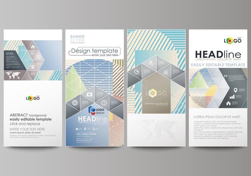Alette di filatoio messe, insegne moderne Modelli di affari Modello di copertura, disposizioni astratte editabili facili di vetto illustrazione di stock