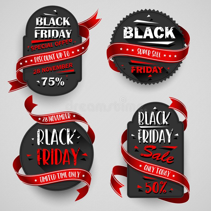 Alette di filatoio di vendita di Black Friday messe per l'affare Illustrazione di vettore royalty illustrazione gratis
