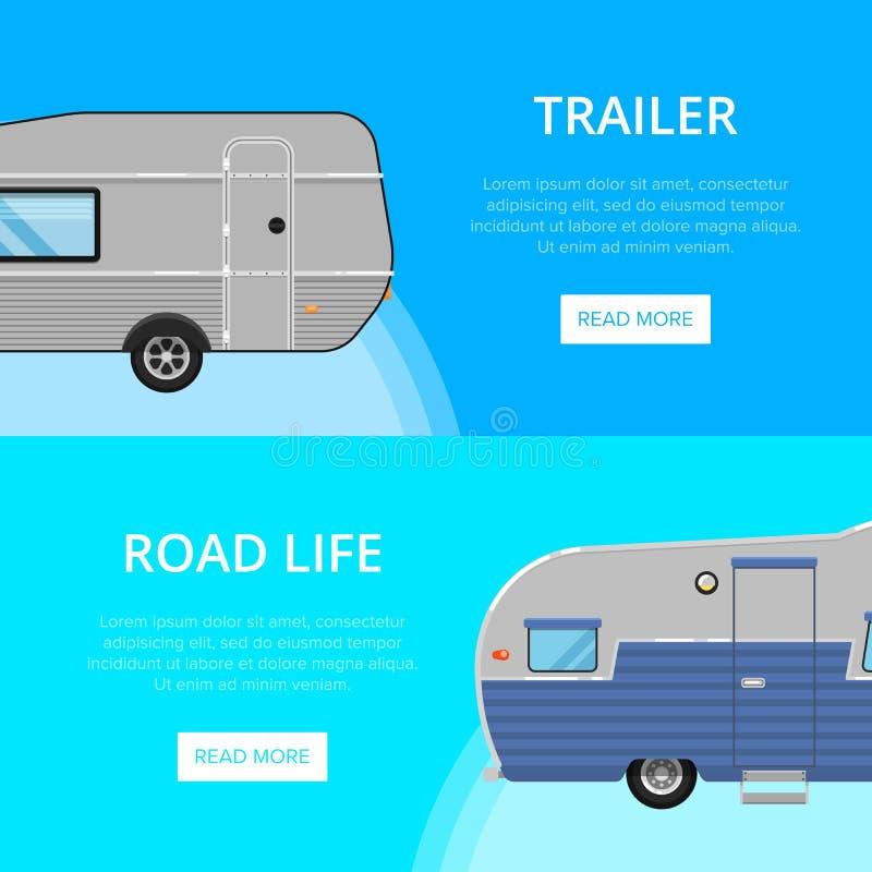 Alette di filatoio di vita della strada con i rimorchi di campeggio illustrazione vettoriale
