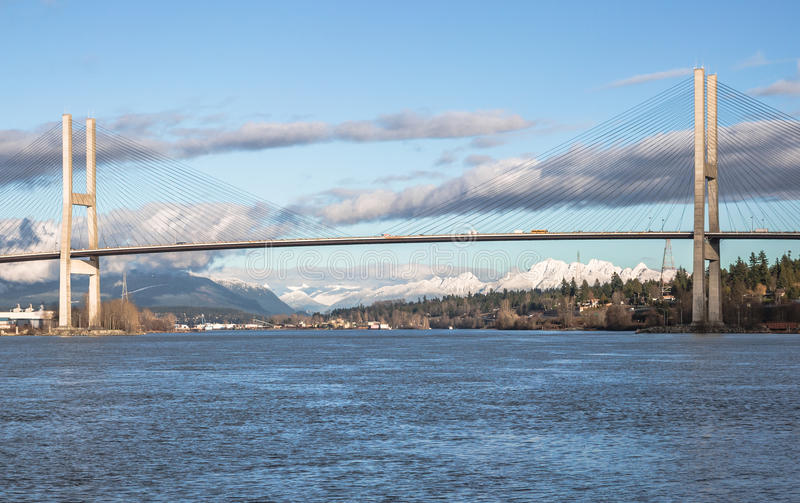 Alex Fraser Bridge in Sunny Winter Day fotografia stock