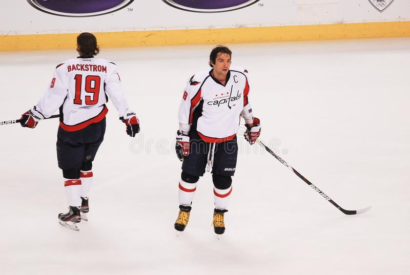 Alex Ovechkin and Nicklas Backstrom stock image