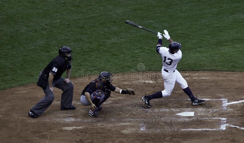 Alex Rodriguez hits a home run. stock image