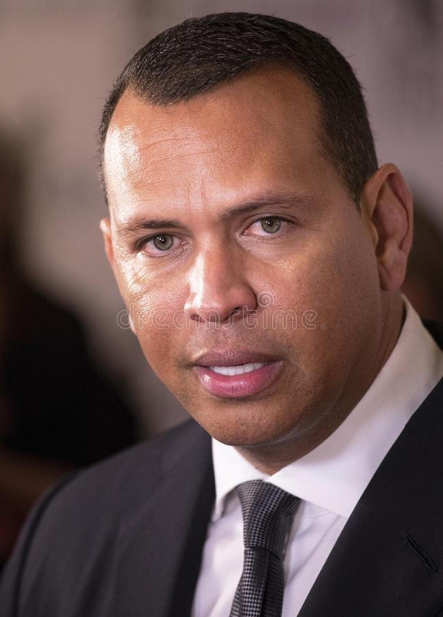 Alex Rodriguez. Retired baseball great and sportscaster and commentator, Alex Rodriguez, attends the 33rd Annual Great Sports Legends Dinner, at the New York royalty free stock image