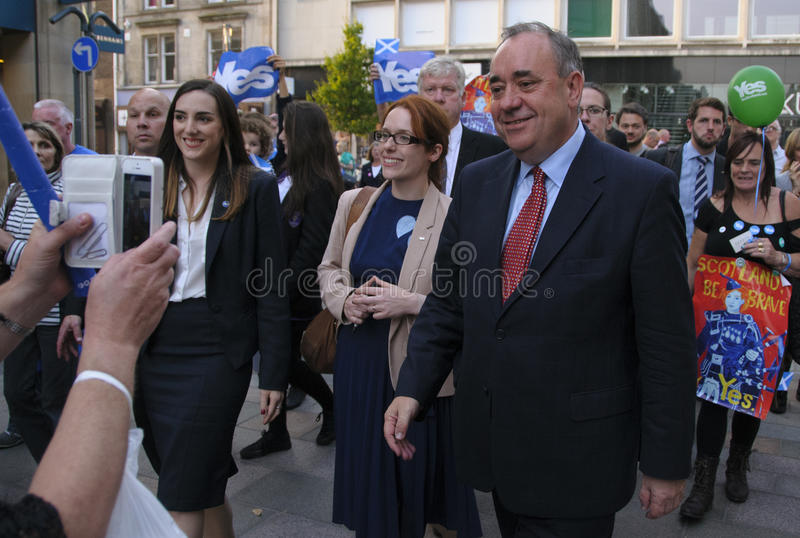 Alex Salmond on the Scottish Indy Ref Campaign 2014. SCOTLAND Perth -- 12 Sep 2014 -- First Minister Alex Salmond during a walkabout with Yes supporters in Perth royalty free stock image