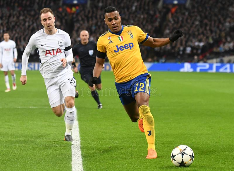 Alex Sandro et Christian Eriksen photographie stock