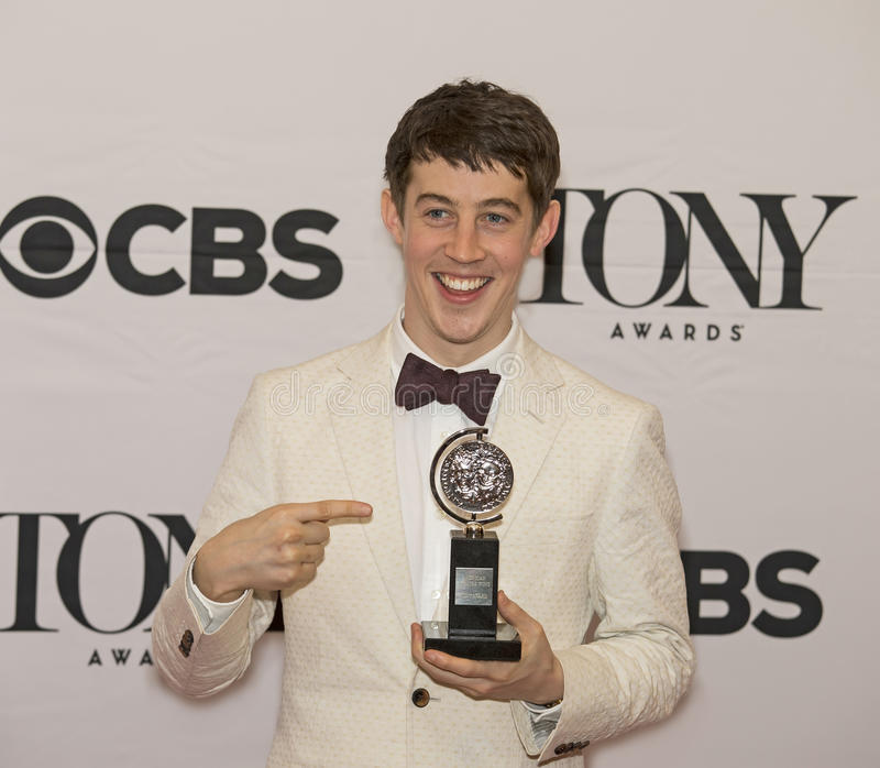 Alex Sharp Wins Best Leading Actor at 69th Tony Awards in 2015. British actor Alex Sharp arrives to display his Tony Award in the Media Room at 3 West 51st stock photos