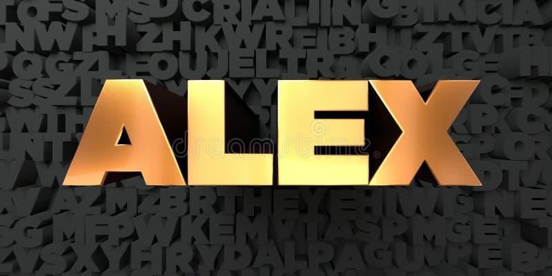Alex - texto do ouro no fundo preto - 3D rendeu a imagem conservada em estoque livre dos direitos ilustração royalty free