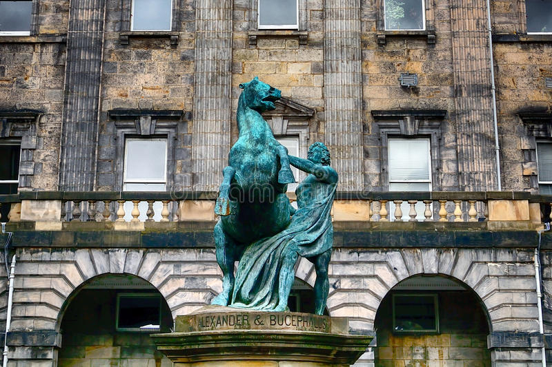 Alexander and Bucephalus at the City Chambers, Edinburgh, Scotla. Alexander and Bucephalus at the City Chambers in Edinburgh, Scotland royalty free stock photos