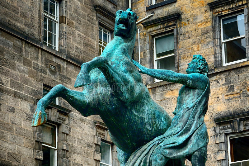 Alexander and Bucephalus at the City Chambers, Edinburgh, Scotla. Alexander and Bucephalus at the City Chambers in Edinburgh, Scotland stock photo