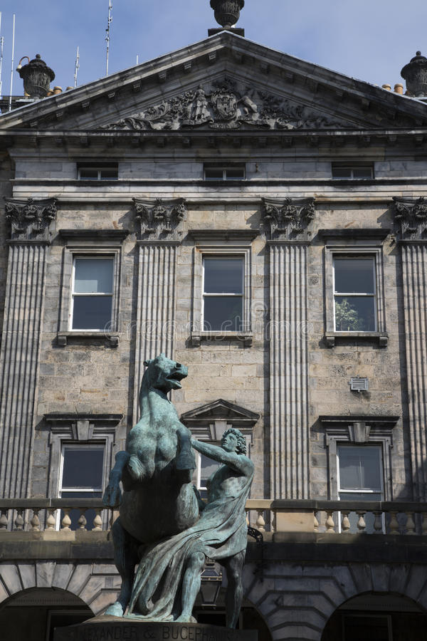 Alexander and Bucephalus Statue by Steell, City Chambers on Royal Mile Street; Edinburgh. Alexander and Bucephalus Statue by Steell 1883, City Chambers on Royal royalty free stock photos