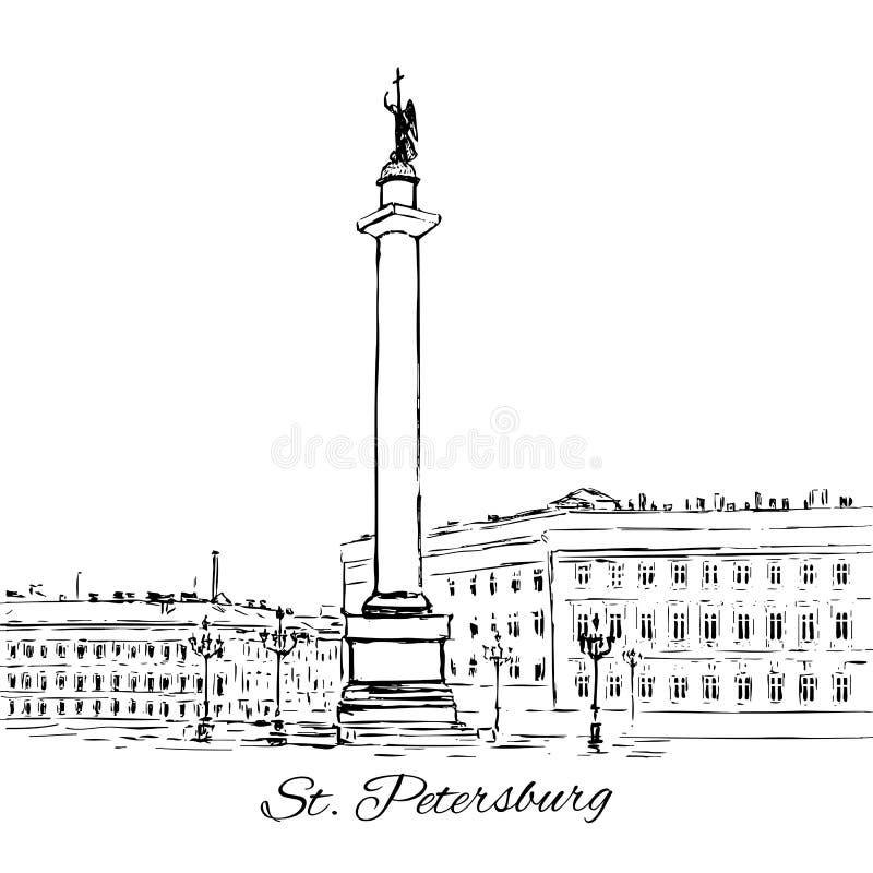 Alexander Column nel quadrato del palazzo, punto di riferimento di St Petersburg, Russia, Vector lo schizzo disegnato a mano dell illustrazione vettoriale