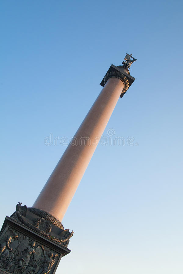 Alexander Column on Palace Square. In St. Petersburg. Russia royalty free stock photo