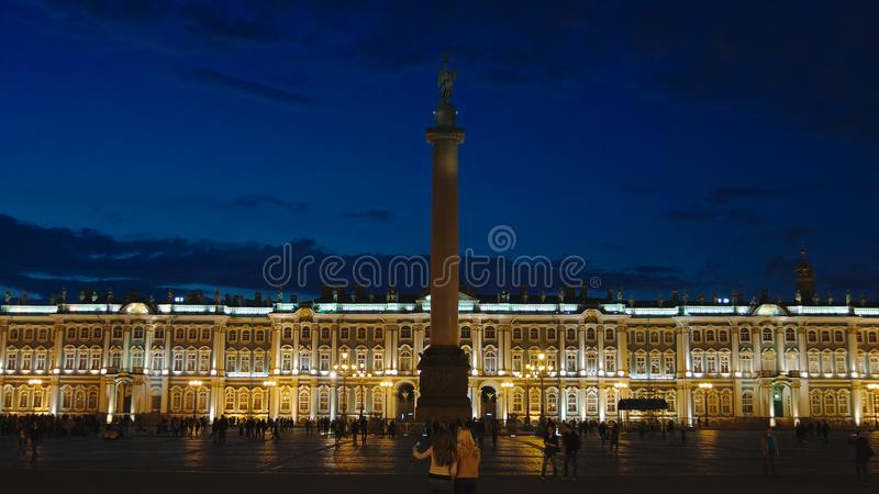 Alexander Column on the Palace Square and State Hermitage in the White Nights. ST. PETERSBURG, RUSSIA - SEPTEMBER 13, 2017: Alexander Column on the Palace Square stock photo