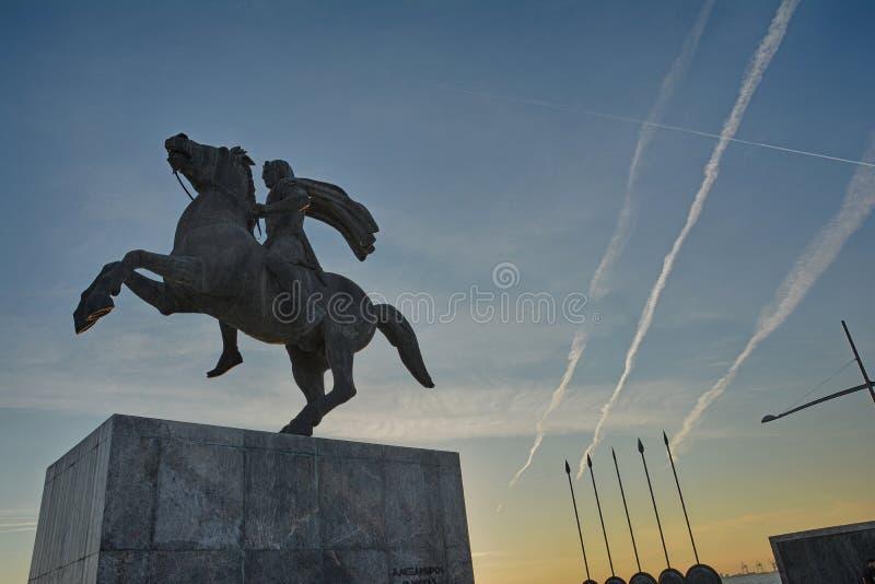Alexander den stora statyn Thessaloniki arkivbild