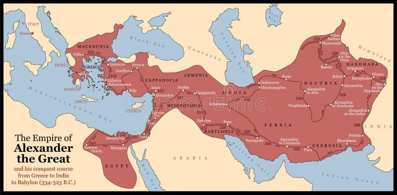 Alexander den stora välden royaltyfri illustrationer