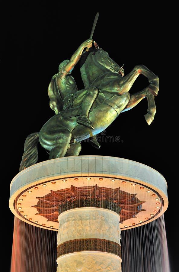 Alexander det stort på en häst arkivfoton