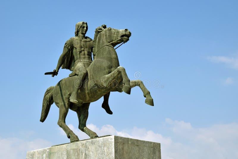 Alexander die Große Statue in Thessaloniki stockfotos