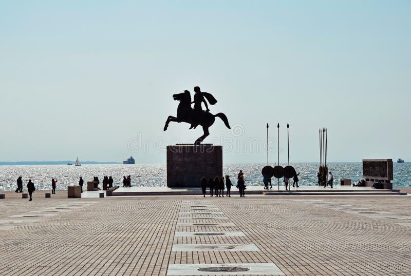 Alexander die Große Statue in Thessaloniki lizenzfreie stockfotos