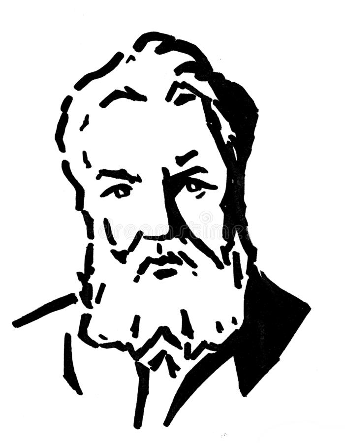 Alexander Graham Bell, the American inventor of telephone. A portrait of the American scientist, engineer and the inventor of the telephone. A.G. Bell was born vector illustration