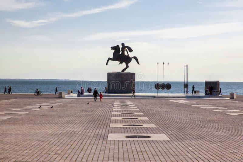 Alexander a grande estátua em Tessalónica, Grécia foto de stock