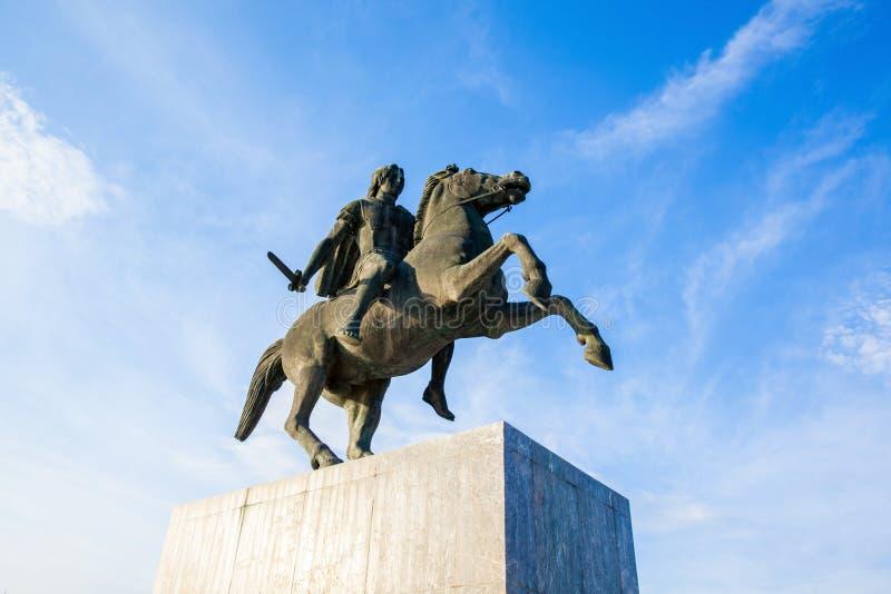 Alexander a grande estátua em Tessalónica, Grécia fotografia de stock royalty free