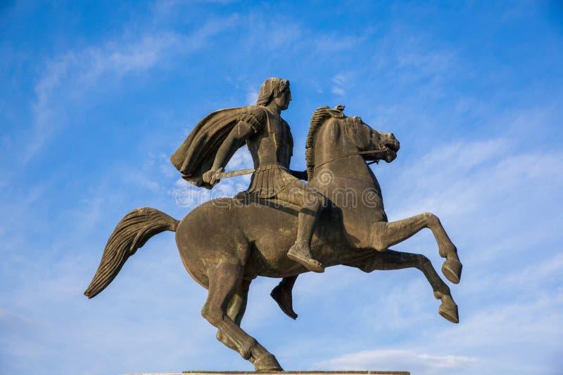 Alexander a grande estátua em Tessalónica, Grécia imagem de stock