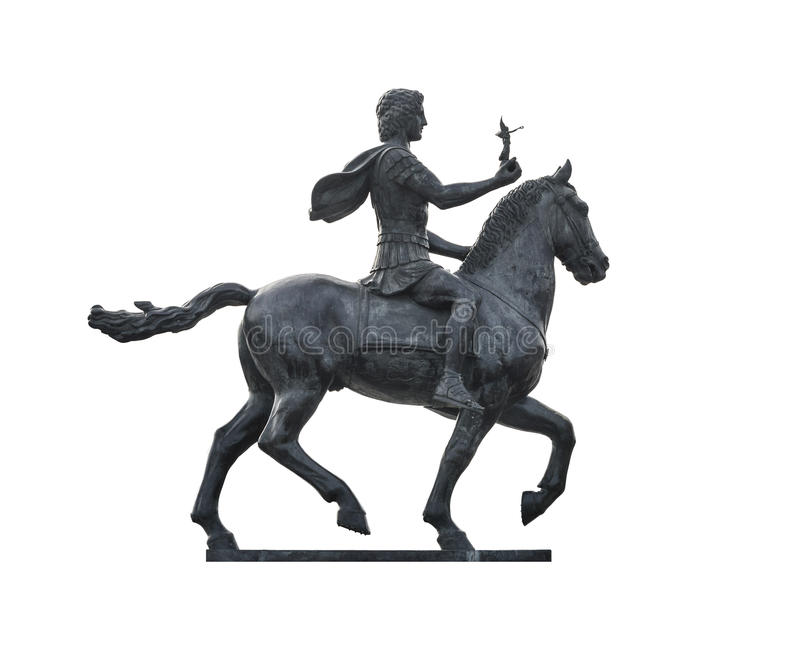 Alexander The Great on Horse. Statue of Alexander The Great Riding on Horse Isolated on White Background stock images