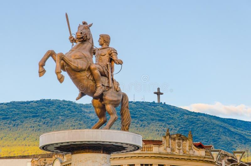 Alexander The Great monument arkivbild