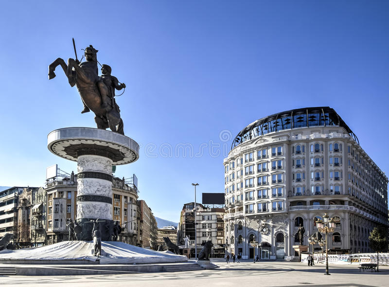 Alexander the Great monument stock images