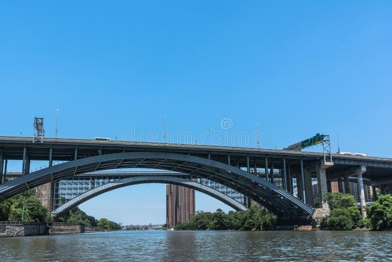 Alexander Hamilton Bridge över Harlemet River, Manhattan, NYC royaltyfri foto