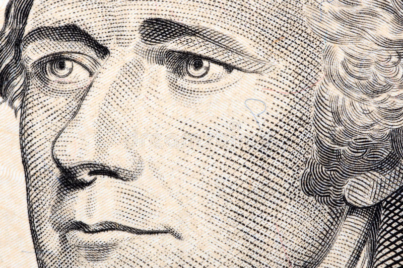 Alexander Hamilton, a close-up portrait. On US ten dollars stock images