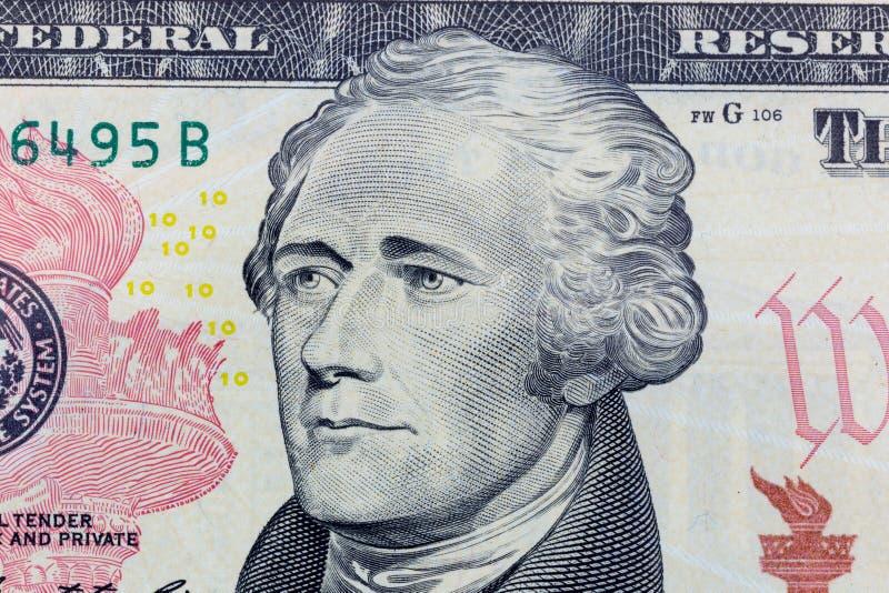 Alexander Hamilton en la foto macra de diez billetes de dólar Detalle de la moneda de los Estados Unidos de América imagen de archivo libre de regalías