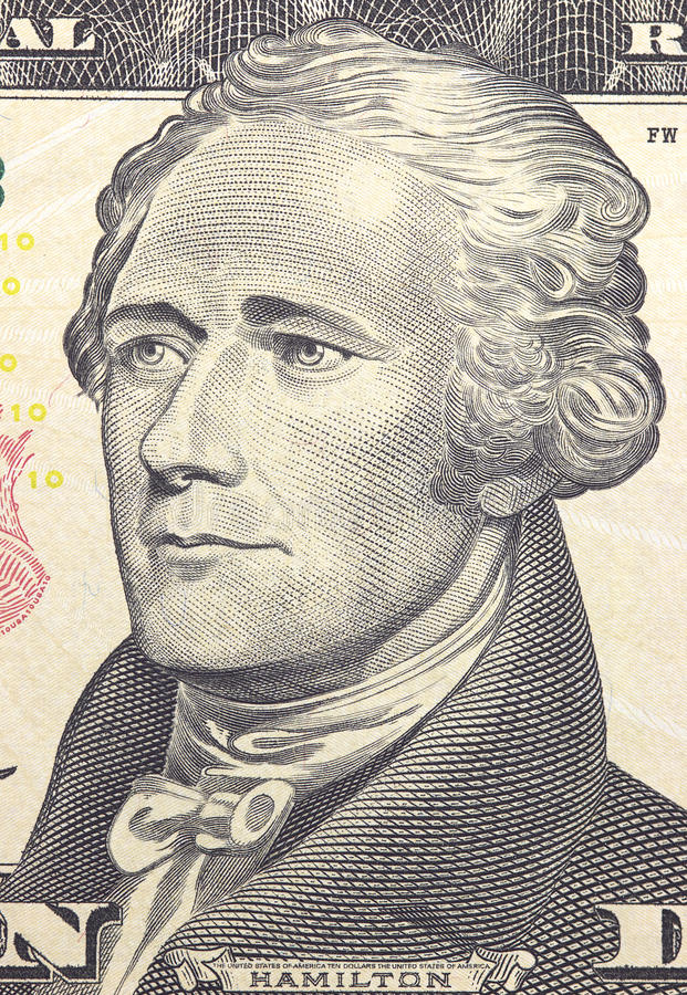 Alexander Hamilton-het gezicht op de dollars van de V.S. tien of 10 factureert macro, het geldclose-up van Verenigde Staten stock afbeeldingen