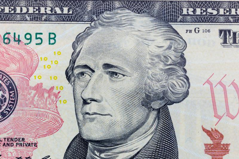 Alexander Hamilton on the ten dollar bill macro photo. United States of America currency detail. royalty free stock image