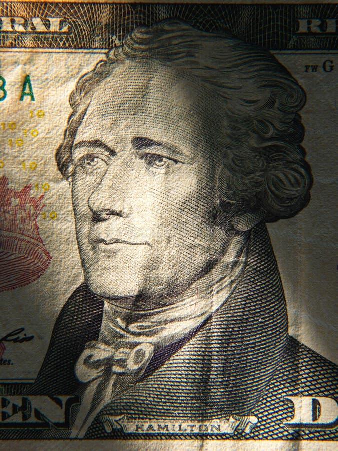Alexander Hamiltons que el retrato se representa encendido pintó en los billetes de banco de $ 10 fotos de archivo libres de regalías