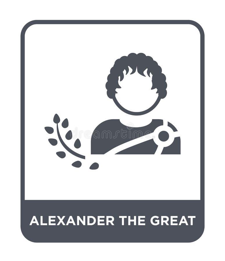 Alexander het grote pictogram in in ontwerpstijl Alexander het grote die pictogram op witte achtergrond wordt geïsoleerd Alexande vector illustratie