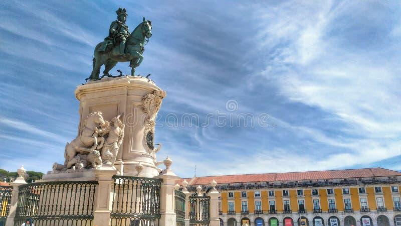Alexander het grote standbeeld in Lissabon stock afbeelding