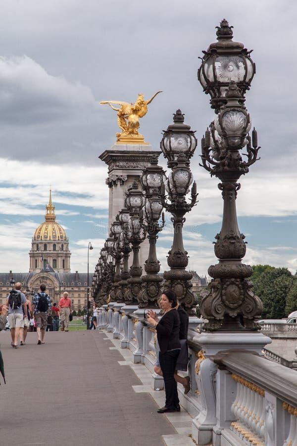Golden Statue Alexander III Bridge Paris France Editorial