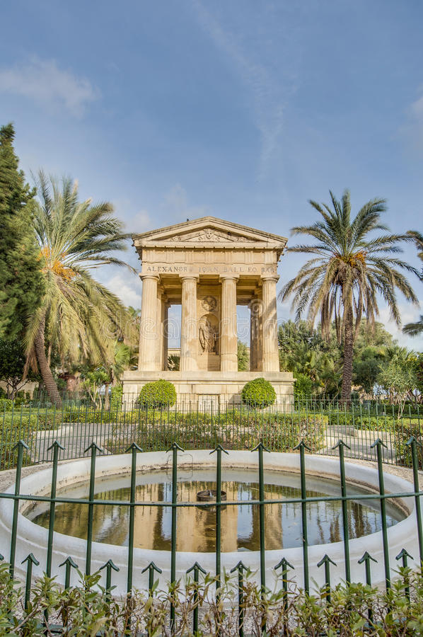 Alexander John Ball monument in Valletta, Malta. First Baronet Sir Alexander John Ball monument at Lower Baracca Gardens in Valletta, Malta royalty free stock photo
