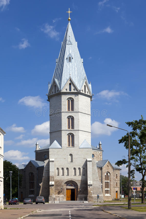 Alexander Lutheran-Kirche in Narva, Estland stockfotos