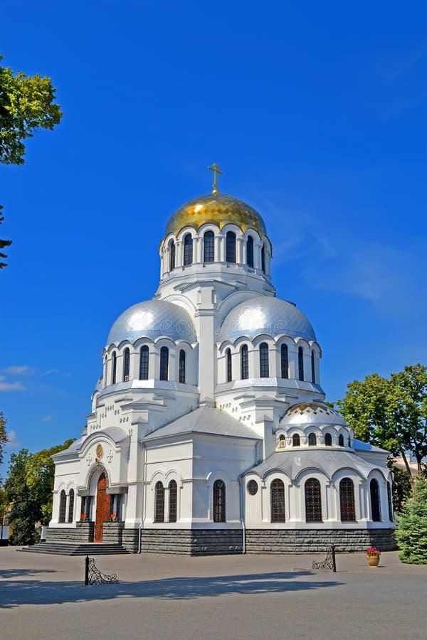 Alexander Nevski cathedral aka Cathedral of St. Prince Alexander Nevsky in Kamyanets-Podilski, Ukraine. KAMIANETS-PODILSKYI, UKRAINE - AUG 25, 2019: Alexander royalty free stock images
