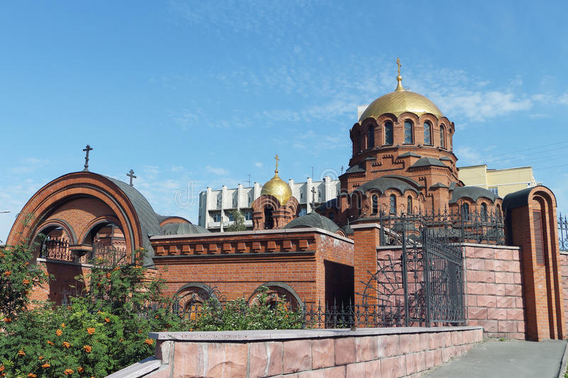 Alexander Nevski cathedral in Russia. In Novosibirsk stock photo