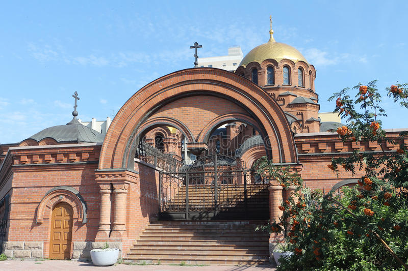 Alexander Nevski cathedral in Russia. In Novosibirsk stock images
