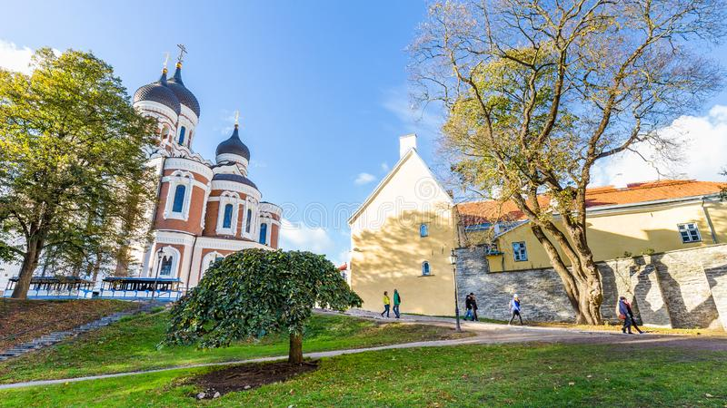 Alexander Nevski cathedral, Tallinn in Estonia. Tallinn, Estonia - September 29, 2018: Alexander Nevski cathedral on top of Toompea hill tin the old town of stock images