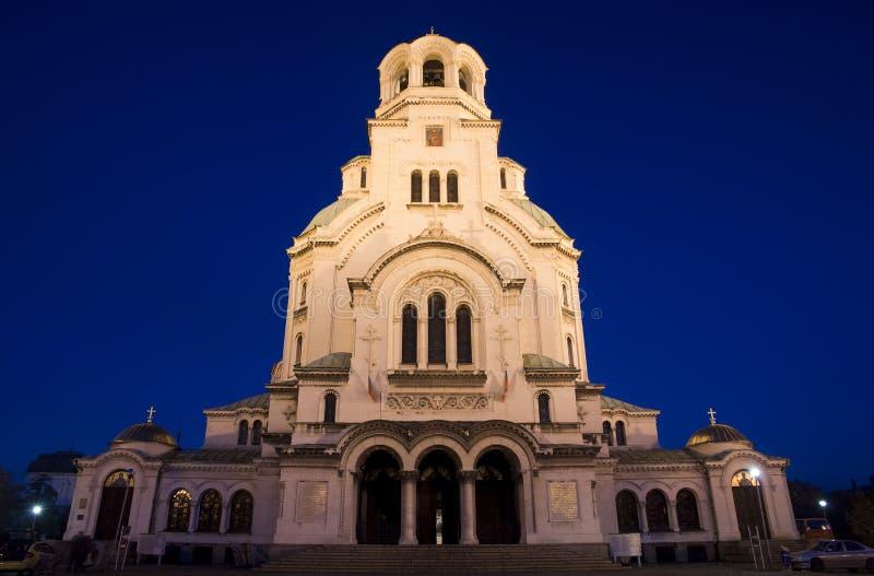 Alexander Nevsky Cathedral bij nacht royalty-vrije stock foto