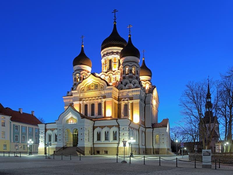 Alexander Nevsky Cathedral em Tallinn no amanhecer, Estônia fotografia de stock