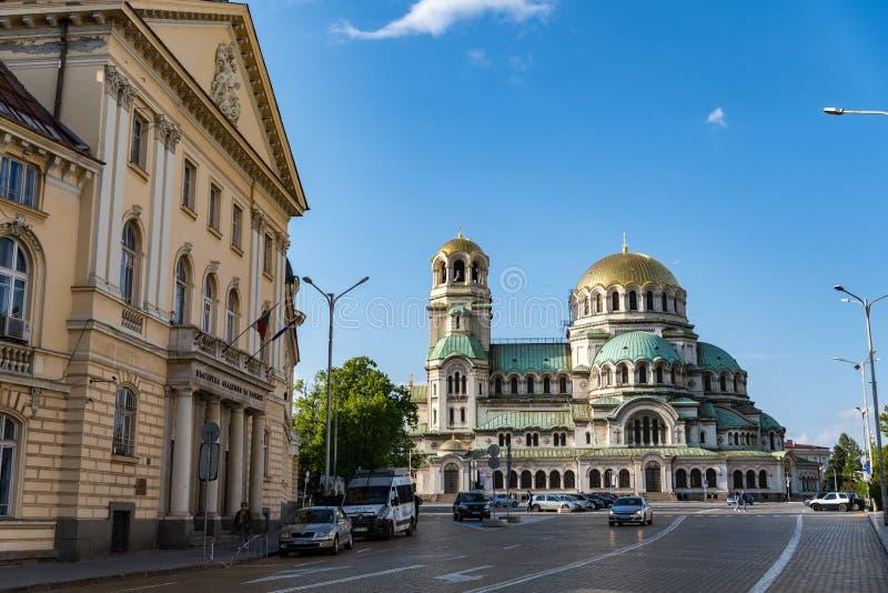 Alexander Nevsky Cathedral en el centro de la ciudad de Sof?a, Bulgaria imagenes de archivo