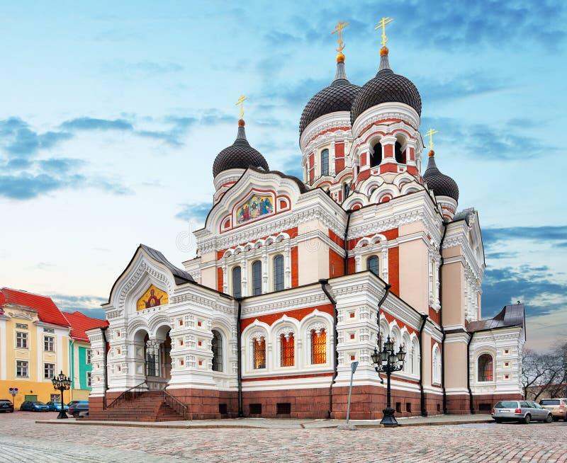 Alexander Nevsky Cathedral en la ciudad vieja de Tallinn, Estonia fotografía de archivo libre de regalías