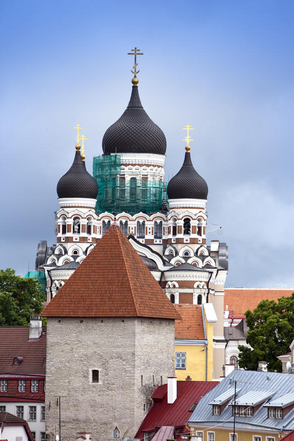 Alexander Nevsky Cathedral. Old city, Tallinn, Estonia royalty free stock photos
