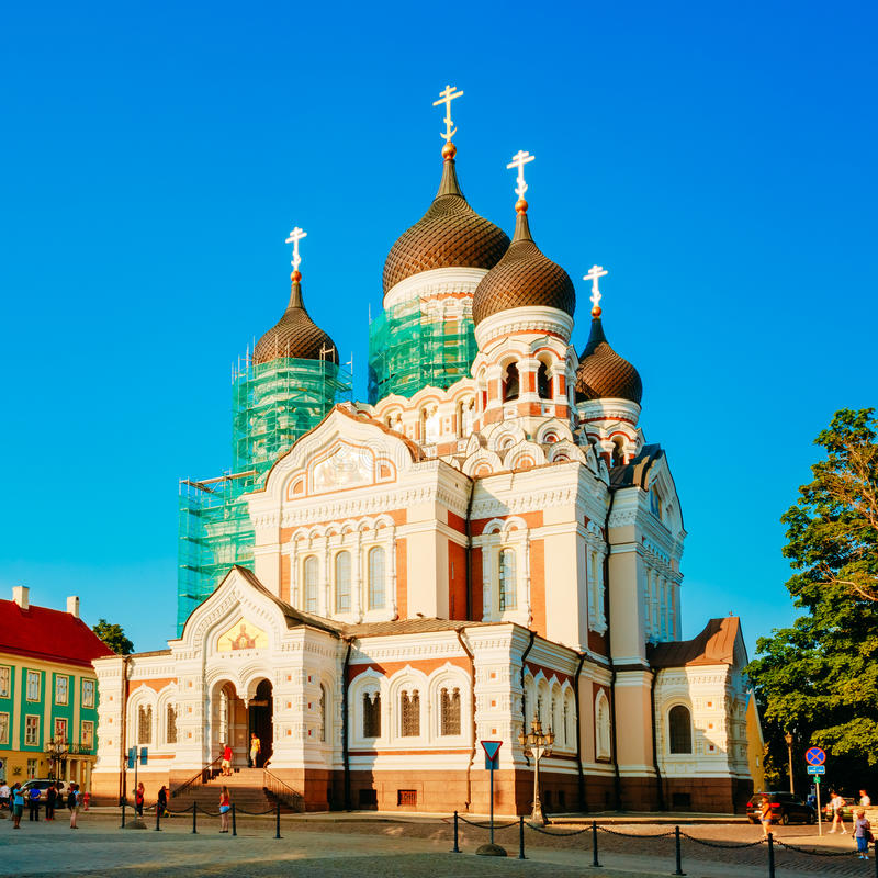 Alexander Nevsky Cathedral, An Orthodox Cathedral Church In Tall. Inn Old Town, Estonia. Summer Time royalty free stock image